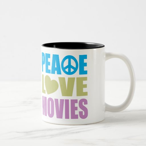 Peace Love Movies Two-Tone Coffee Mug