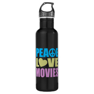 Peace Love Movies Water Bottle