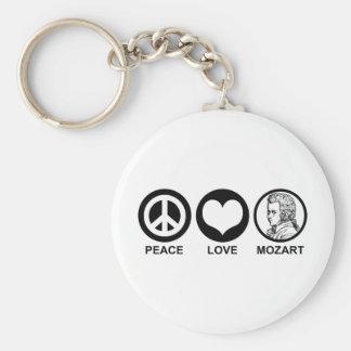 Peace Love Mozart Basic Round Button Keychain