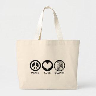 Peace Love Mozart Large Tote Bag
