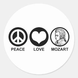 Peace Love Mozart Classic Round Sticker