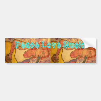 peace love music acoustic girl car bumper sticker