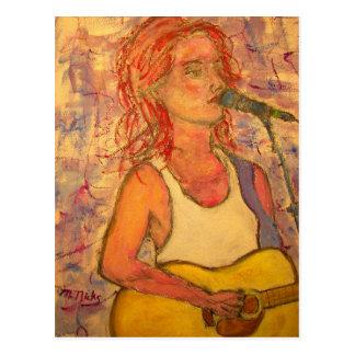 peace love music acoustic girl postcard