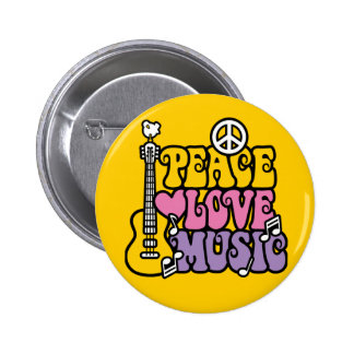 Peace-Love-Music 2 Inch Round Button