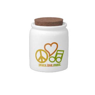 Peace Love Music candy jar