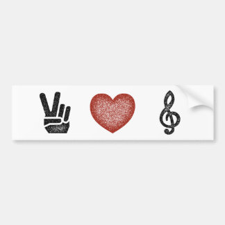 Peace Love Music Car Bumper Sticker