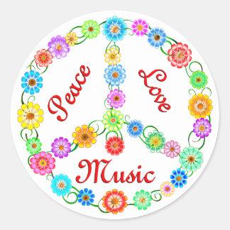 Peace Love Music Classic Round Sticker