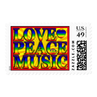 Peace Love Music Colorful Art Stamp