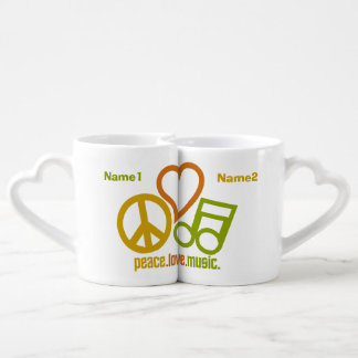 Peace Love Music custom couple's mugs Couples' Coffee Mug Set