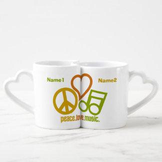 Peace Love Music custom couple's mugs Lovers Mug