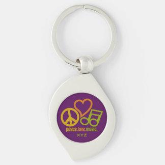 Peace Love Music custom monogram key chain