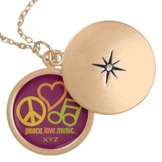 Peace Love Music custom monogram necklace