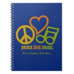Peace Love Music custom notebook