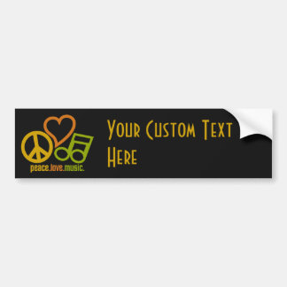 Peace Love Music custom text & color bumpersticker Bumper Sticker
