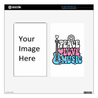 Peace-Love-Music Decal For Kindle Fire