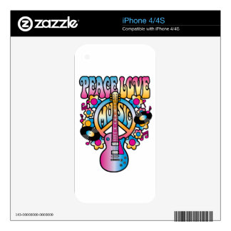 Peace Love Music Decal For The iPhone 4
