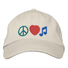 Peace Love Music Embroidered Cap Baseball Cap