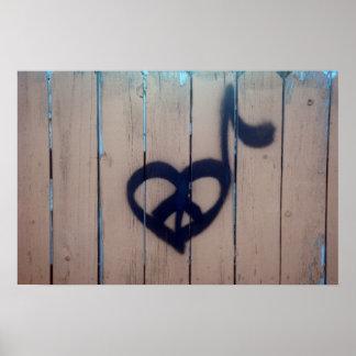 Peace, Love & Music Graffiti Photography Poster