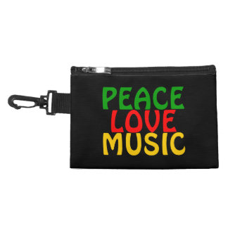 Peace Love Music Green Red Gold Accessories Bag