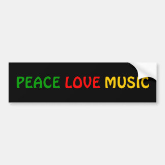 Peace Love Music Green Red Gold Bumper Sticker