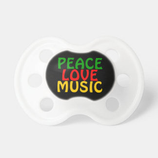 Peace Love Music Green Red Gold Pacifier