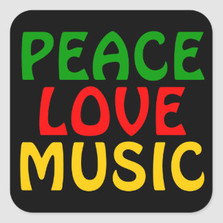 Peace Love Music Green Red Gold Square Sticker
