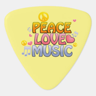 Peace love music guitar pick, with images of heart guitar pick