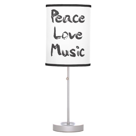 Peace, Love, Music in Black Writing Table Lamp