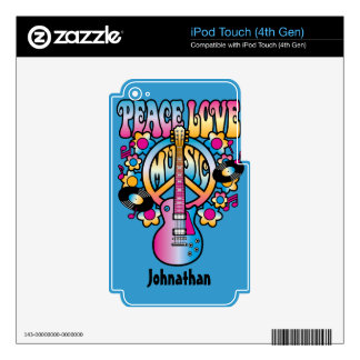 Peace Love Music iPod Touch 4G Skin