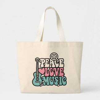 Peace-Love-Music Large Tote Bag
