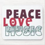 Peace Love Music Mousepads