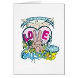peace love music retro hippie vector art greeting card