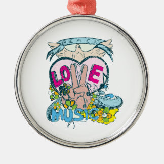 peace love music retro hippie vector art christmas ornament