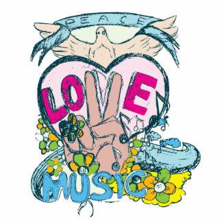 peace love music retro hippie vector art photo sculpture keychain