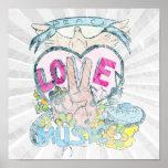 peace love music retro hippie vector art poster