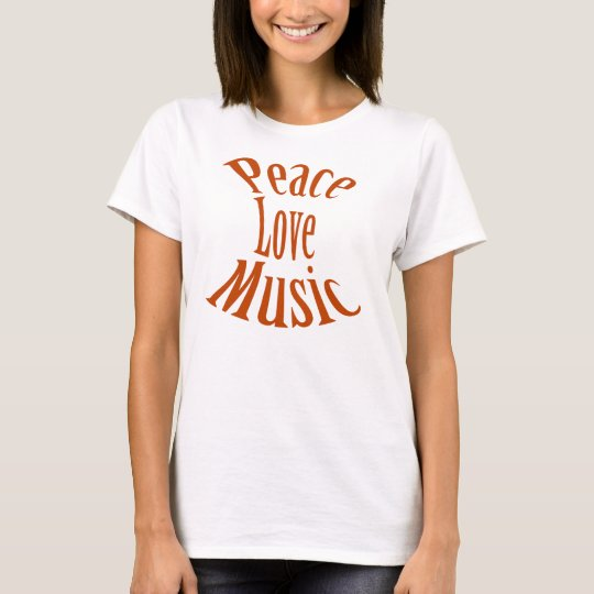 """Peace Love Music"" Saxophone Ladies Shirt"