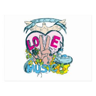 Peace Love Music - Sixties 1960 Illustration Postcard