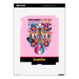 PEACE LOVE MUSIC DECALS FOR THE iPad 2