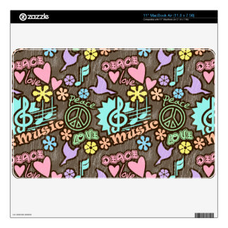 Peace, Love, Music Decal For MacBook Air