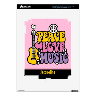 Peace Love Music Skin For iPad 3