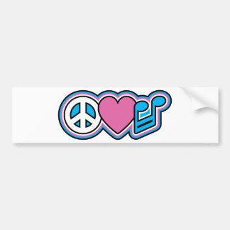 PEACE-LOVE MUSIC Symbols Bumper Sticker