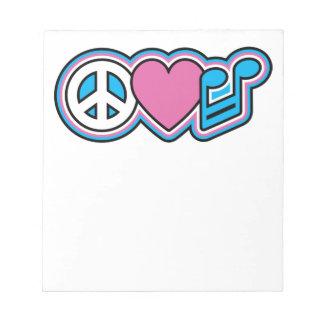 PEACE LOVE MUSIC Symbols Notepad