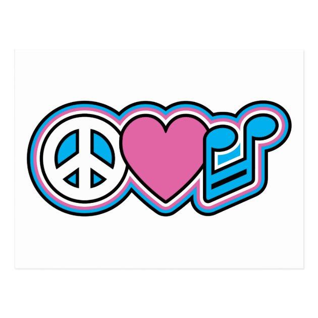 Peace Love Music Symbols Postcard 239542279004648074
