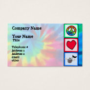 Peace, Love, Music; Tie Dye Business Card at Zazzle