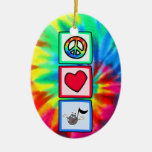 Peace, Love, Music; Tie Dye Double-Sided Oval Ceramic Christmas Ornament