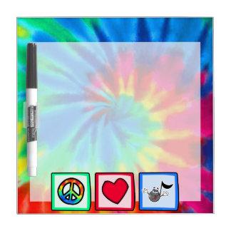 Peace, Love, Music; Tie Dye Dry Erase Boards