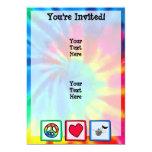 Peace, Love, Music; Tie Dye 5x7 Paper Invitation Card