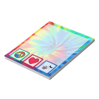 Peace, Love, Music; Tie Dye Notepad