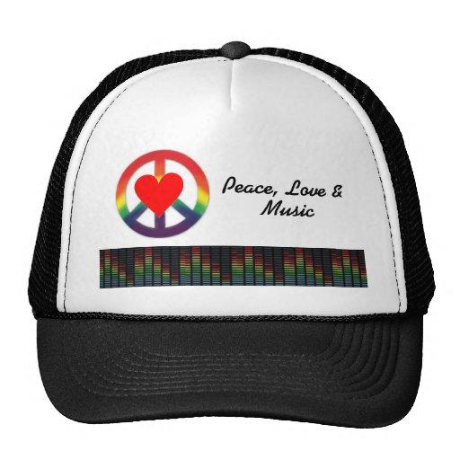 peace, love & music trucker hat