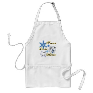 Peace, Love, Music with Snowflakes Adult Apron